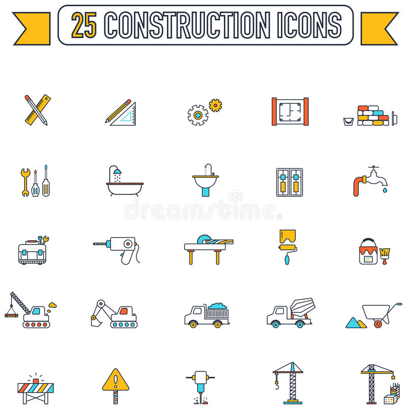 Flat line color engineering and construction site industry icon. Flat line color engineering and construction site industry graphic tool equipment sign and stock illustration