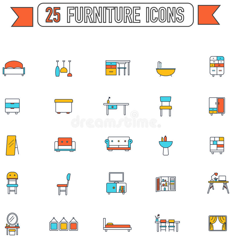 Flat line color furniture and home appliance interior royalty free illustration