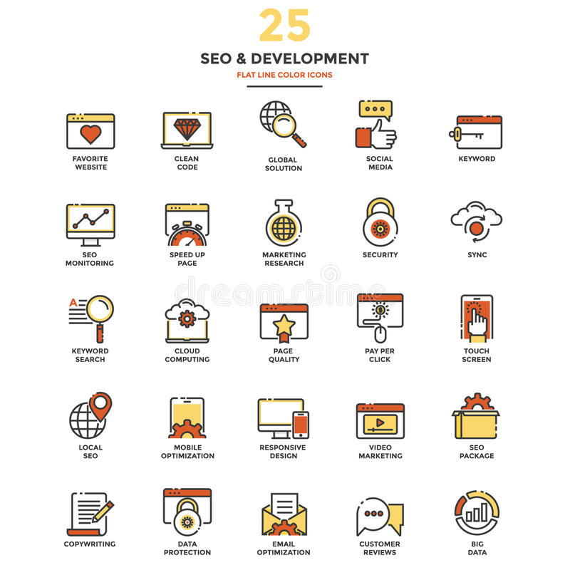 Flat Line Color Icons- SEO stock illustration