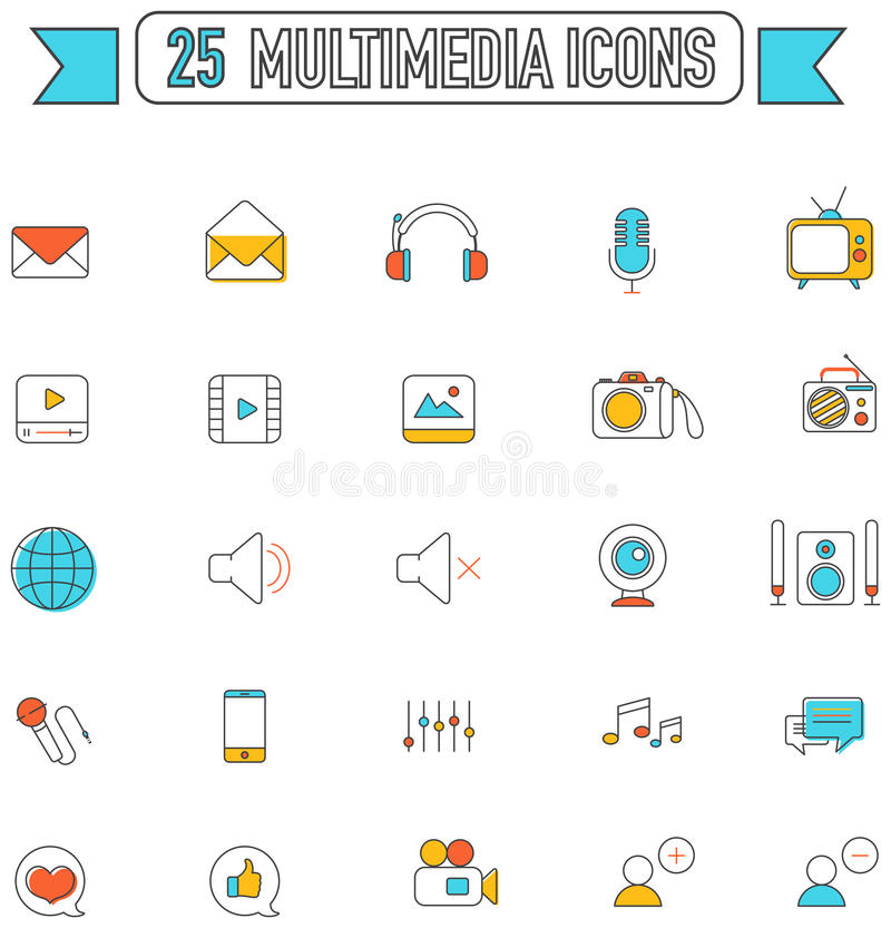 Flat line color multimedia and social media tool sign icon royalty free illustration