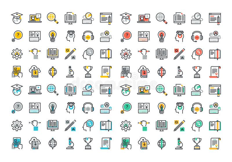 Flat line colorful icons collection of e-learning. Flat line colorful icons collection of global education, e-learning, online training and courses, video vector illustration