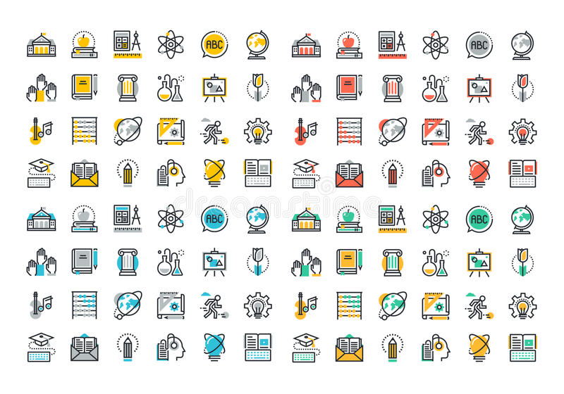 Flat line colorful icons collection of education. And knowledge theme, basic and elementary study, university and college courses, distance education, webinar