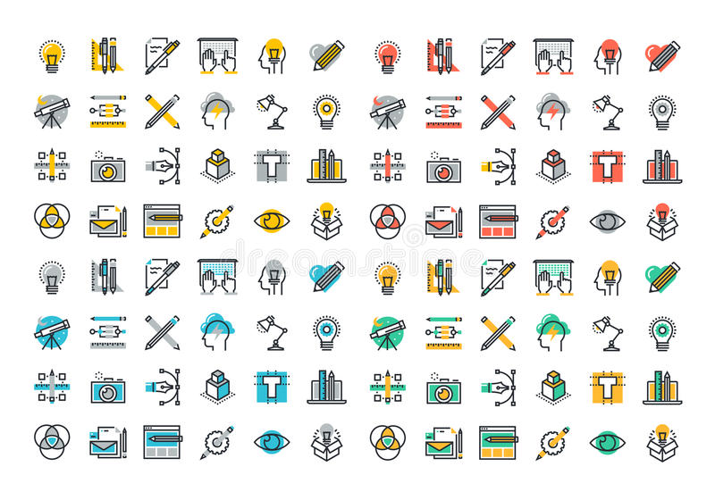 Flat line colorful icons collection of graphic and web design. Flat line colorful icons collection of graphic design, web design, photography, industrial design vector illustration