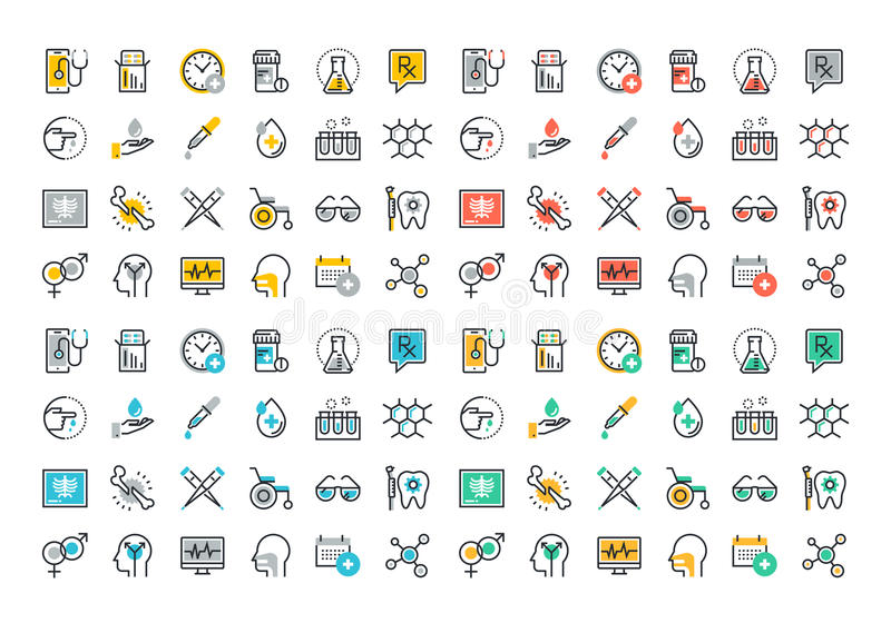 Flat line colorful icons collection of medicine theme. Healthcare diagnosis and treatment, laboratory tests, medical supplies, medicines and equipment vector illustration