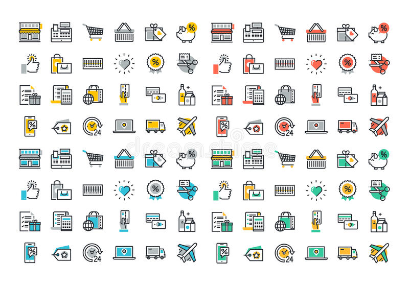 Flat line colorful icons collection of retail shopping activity. Shopping and buying products, logistics services and price scanning, consumer items for vector illustration
