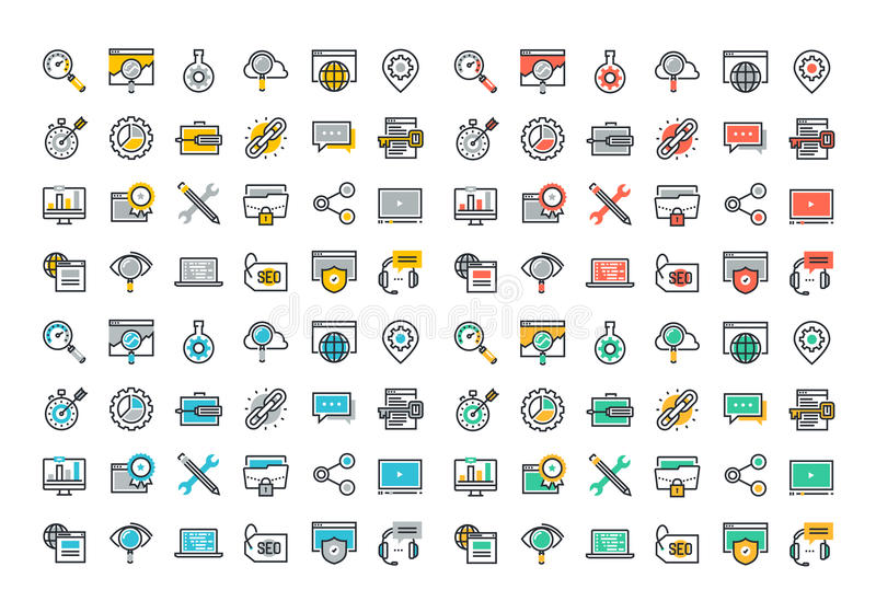 Flat line colorful icons collection of SEO. Cloud computing technology, traffic growth, rank result, keywording and link building, global network connection royalty free illustration