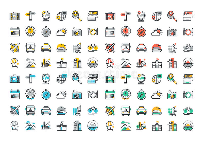 Flat line colorful icons collection of travel and tourism. Theme, holiday trip planning, online travel services, tour organization, air travel to cruise, summer royalty free illustration