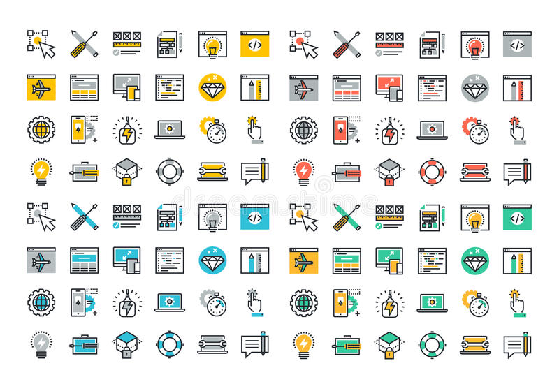 Flat line colorful icons collection of web design and development vector illustration