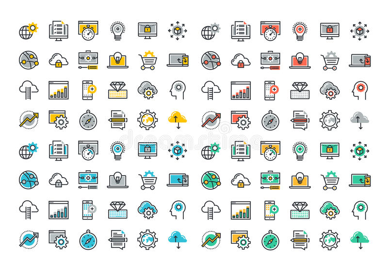 Flat line colorful icons collection of website and app development. Seo, website maintenance, online security, cloud computing, web programming process, API stock illustration