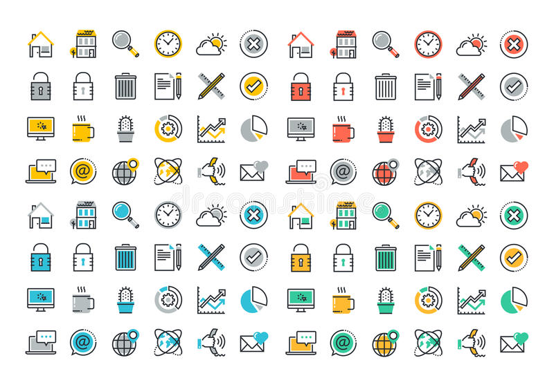 Flat line colorful icons collection of website main elements stock illustration