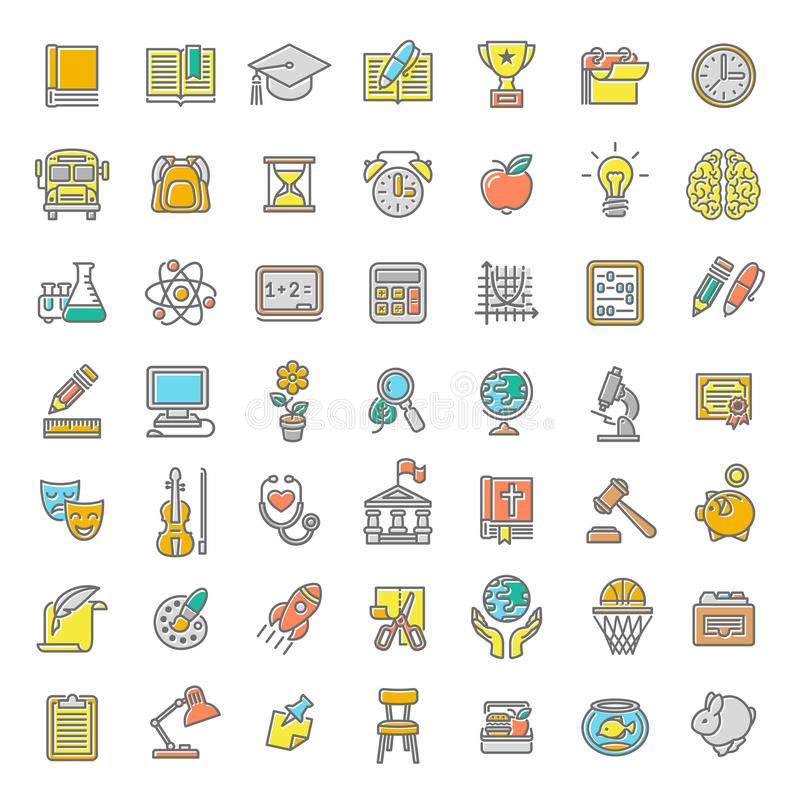 Flat Line Colorful School Subjects Icons. Set of modern flat line colorful vector icons of school subjects, activities, education and science symbols. Concepts royalty free illustration