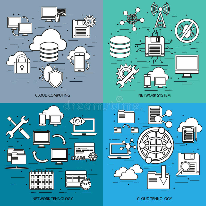Flat line concept of cloud computing, network system. Network tehnology, cloud tehnology, mobile devices connected onto a cloud data storage. Flat icon. Vector royalty free illustration