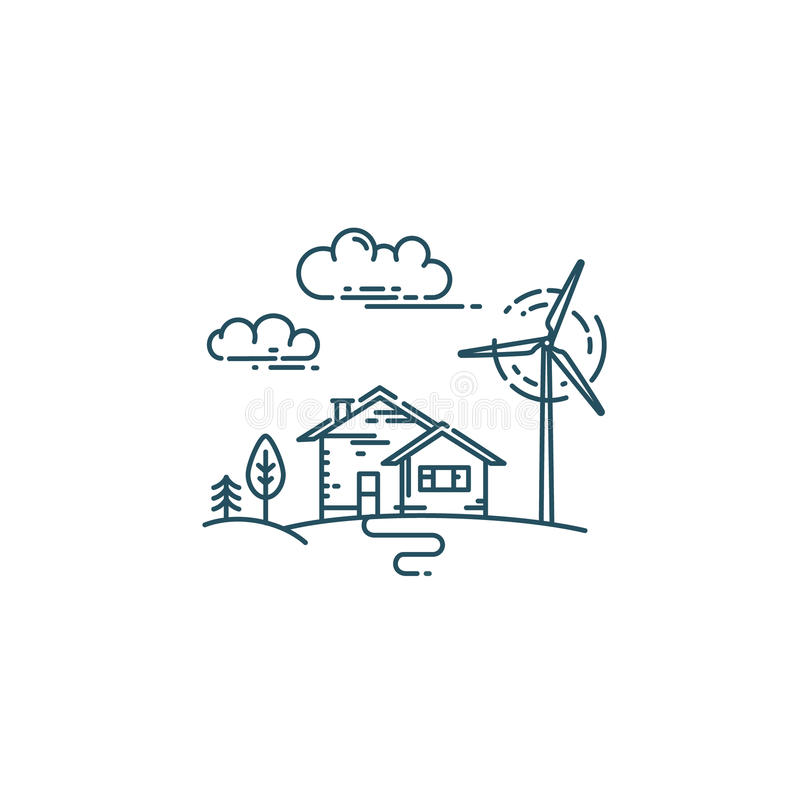 Flat line concept with eco house. Flat line concept with house, trees, wind generator turbines and clouds royalty free illustration