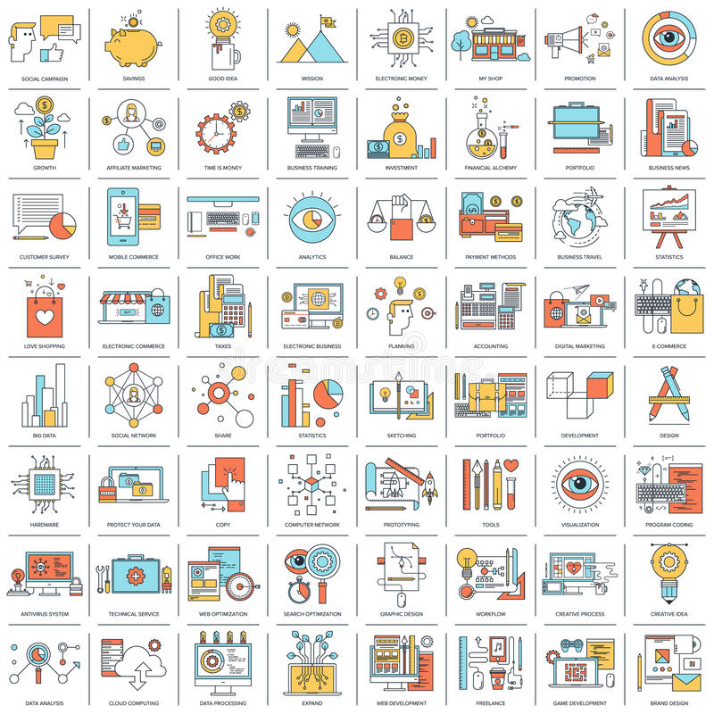Flat Line Concepts. Business and finance, shopping and commerce, digital marketing, network and technology, SEO and web optimization, design and development royalty free illustration