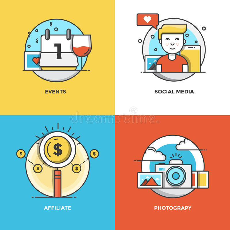 Flat line Concepts design. Modern flat color line designed concepts icons for Events, Social Media, Affiliate and Photograpy. Can be used for Web Project and royalty free illustration
