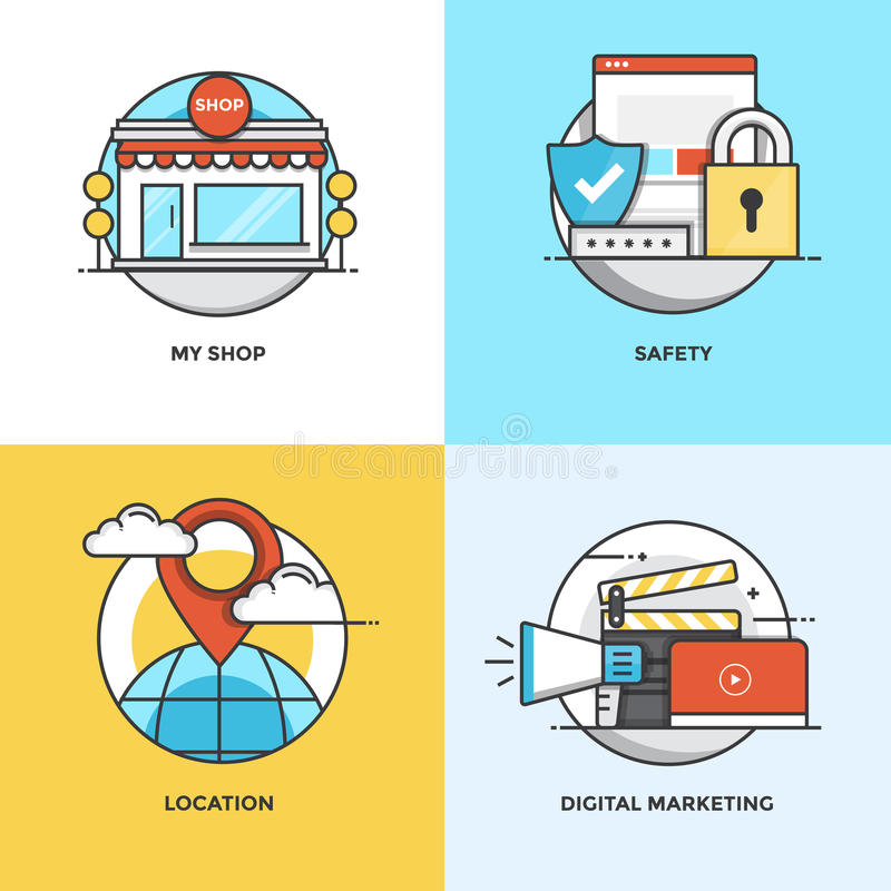 Flat line Concepts design. Modern flat color line designed concepts icons for My Shop, Safety, Location and Digital Marketing. Can be used for Web Project and royalty free illustration