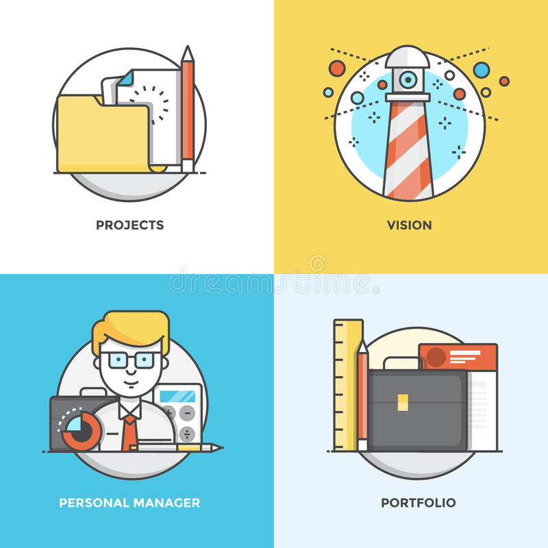 Flat line Concepts design 5. Modern flat color line designed concepts icons for Projects, Vision, Personal Manager and Portfolio. Can be used for Web Project and royalty free illustration