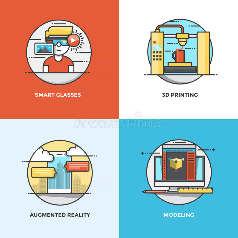 Flat line Concepts design. Modern flat color line designed concepts icons for Smart Glasses, 3d Printing, Augmented Reality and Modeling. Can be used for Web royalty free illustration