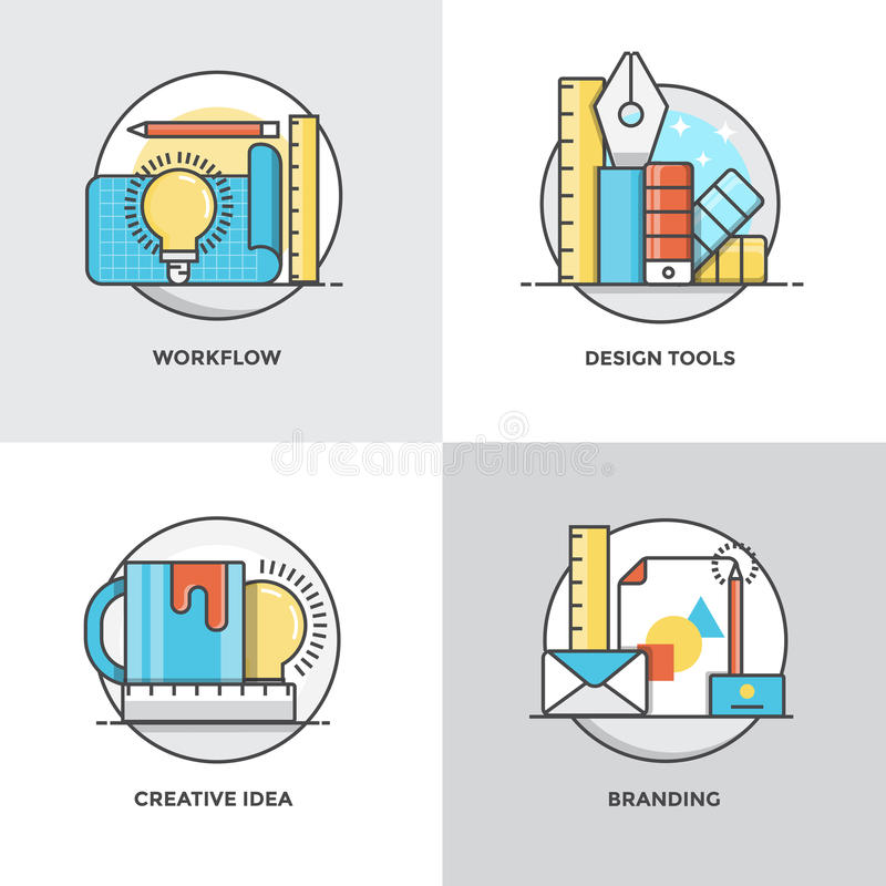 Flat line Concepts design 4. Modern flat color line designed concepts icons for Workflow, Design Tools, Creative Idea and Branding. Can be used for Web Project royalty free illustration