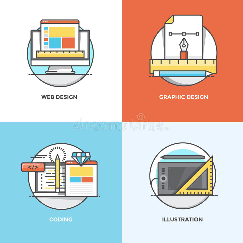 Flat Line Concepts Icons. Modern flat color line designed concepts icons for Web Design, Graphic Design, Coding and Illustration. Can be used for Web Project and stock illustration