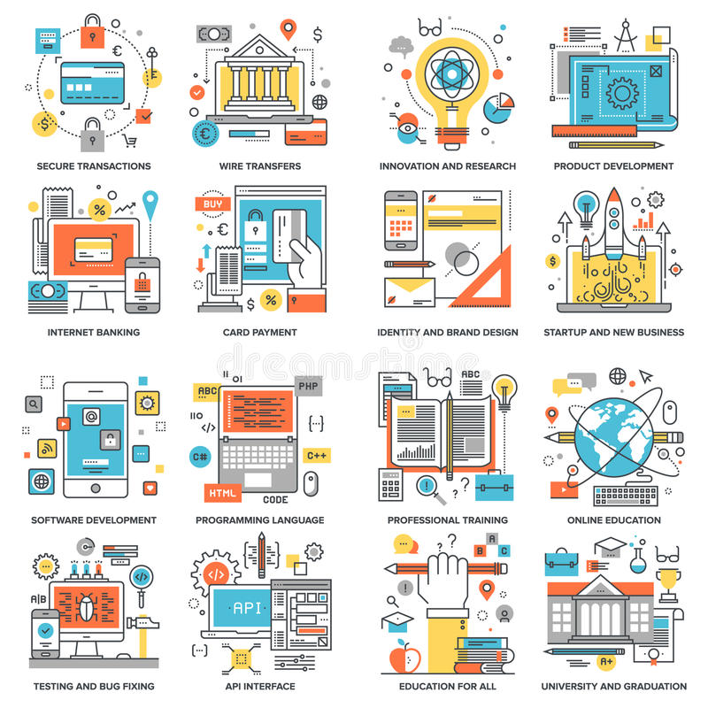 Flat Line Concepts. Internet banking, startup and new business, education and knowledge, innovation, brand design, online security, app development, product vector illustration