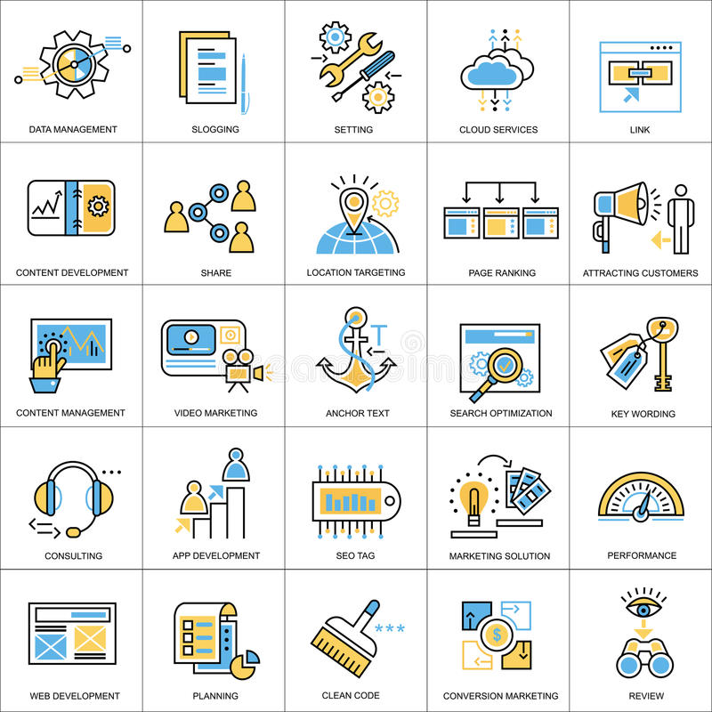 Flat line conceptual icons set of seo and development royalty free illustration