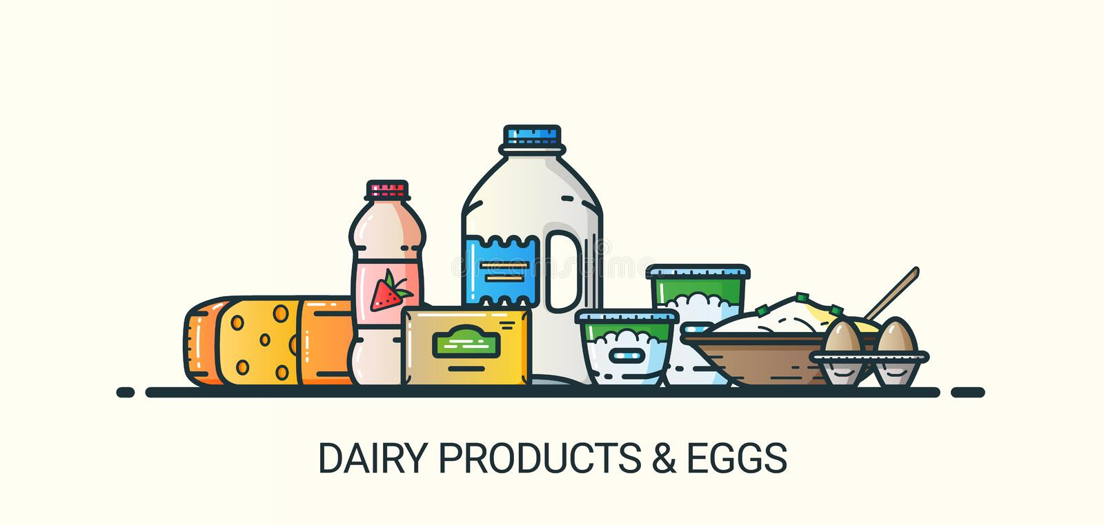 Flat line dairy products banner. Banner of dairy products in flat line trendy style. All objects separated and customizible. Line art. Milk and yogurt, butter stock illustration