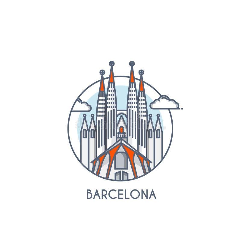 Flat line deisgned icon - Barcelona. Barcelona city flat line color icon with caption. City logo, landmark, vector symbol. Sagrada Familia. Vector Illustration stock illustration