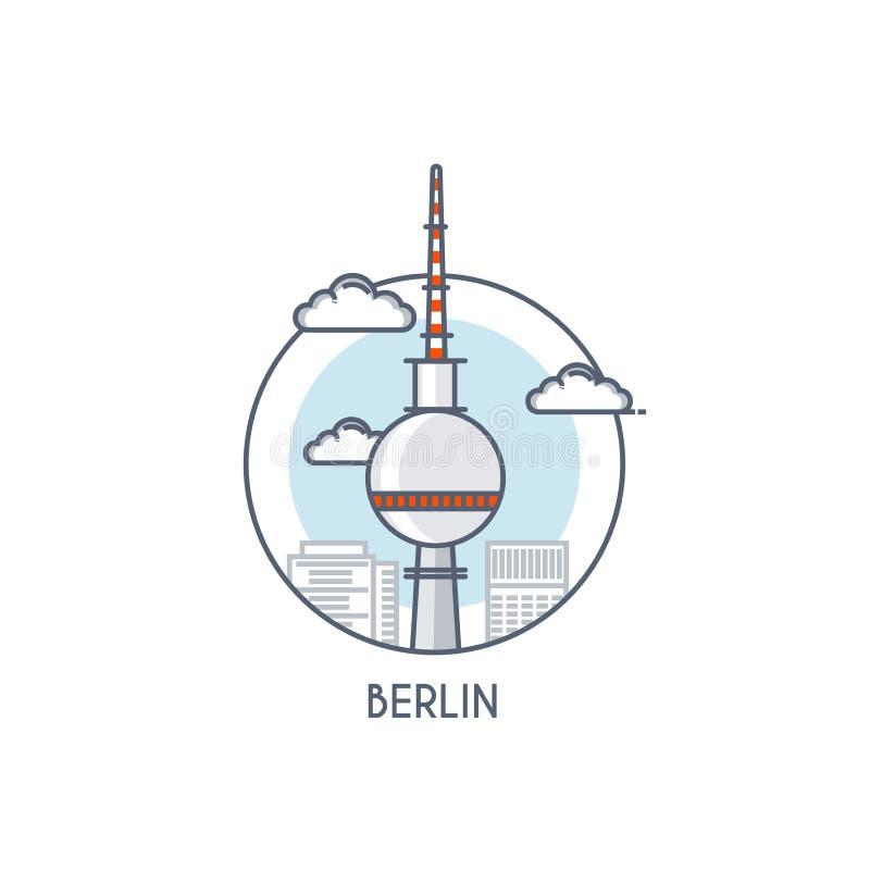 Flat line deisgned icon - Berlin. Berlin City flat line color icon with caption. City logo, landmark, vector symbol. Television Tower. Vector Illustration stock illustration