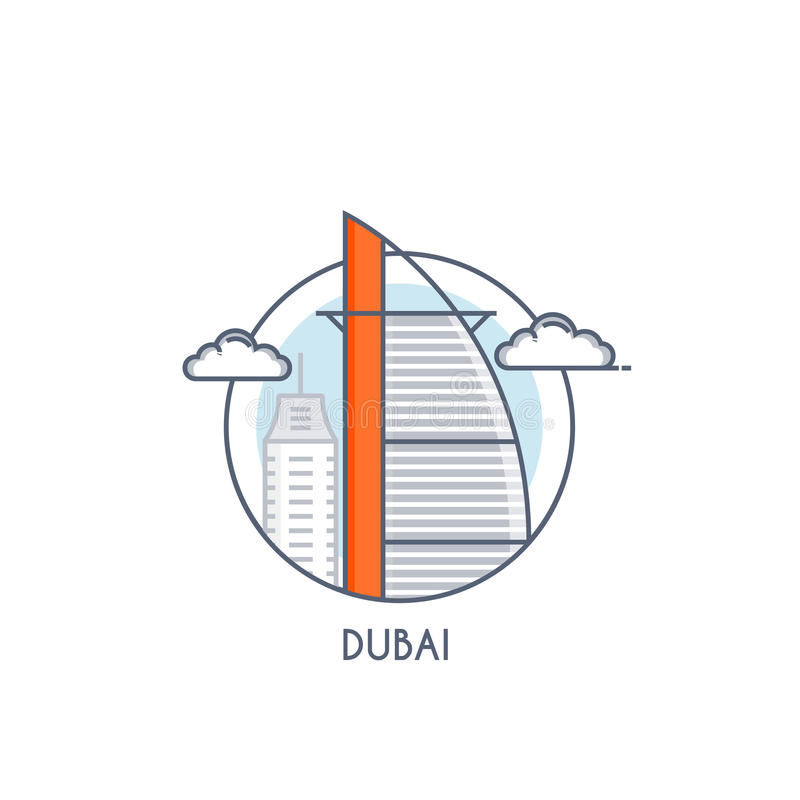 Flat line deisgned icon - Dubai. Dubai city flat line color icon with caption. City logo, landmark, vector symbol. Burj al arab. Vector Illustration isolated on royalty free illustration
