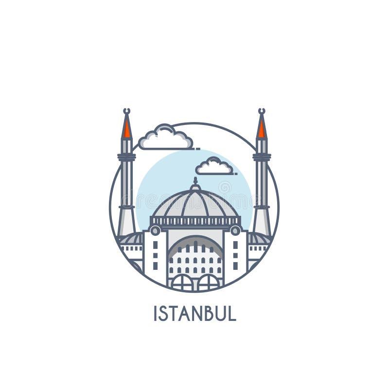 Flat line deisgned icon - Istanbul. Istanbul city flat line color icon with caption. City logo, landmark, vector symbol. Hagia Sophia. Vector Illustration royalty free illustration