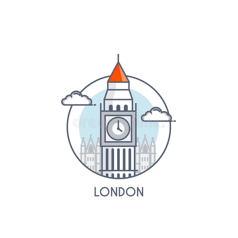 Flat line deisgned icon - London royalty free illustration