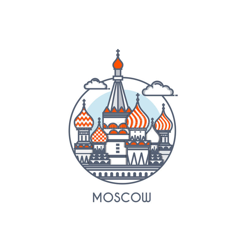 Flat line deisgned icon - Moscow royalty free illustration