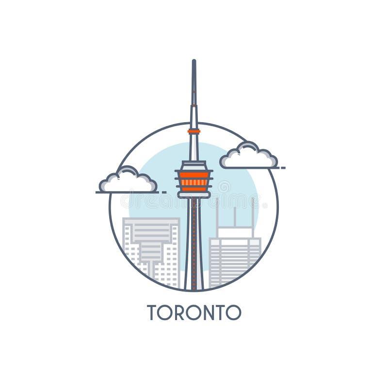 Flat line deisgned icon - Toronto royalty free illustration