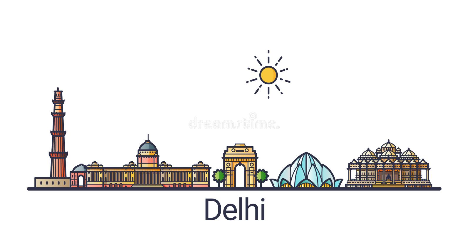 Flat line Delhi banner. Banner of Delhi city skyline in flat line trendy style. Delhi city line art. All buildings separated and customizable stock illustration