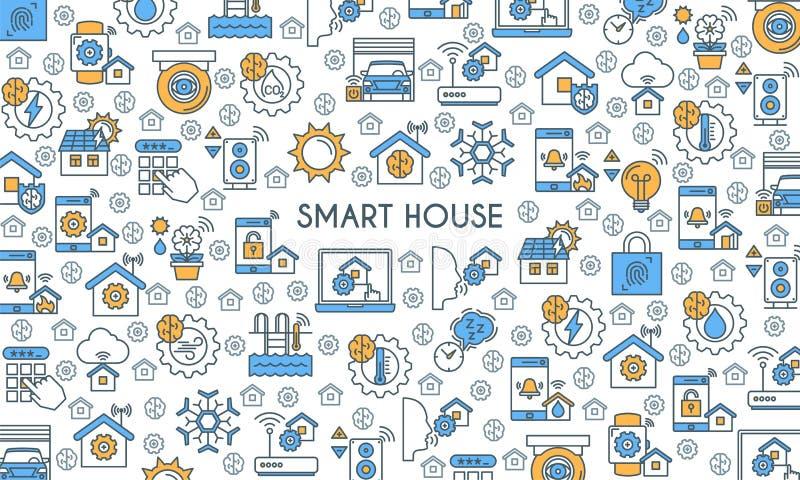 Flat Line Design Smart Home Banner Stock Vector - Illustration of ...