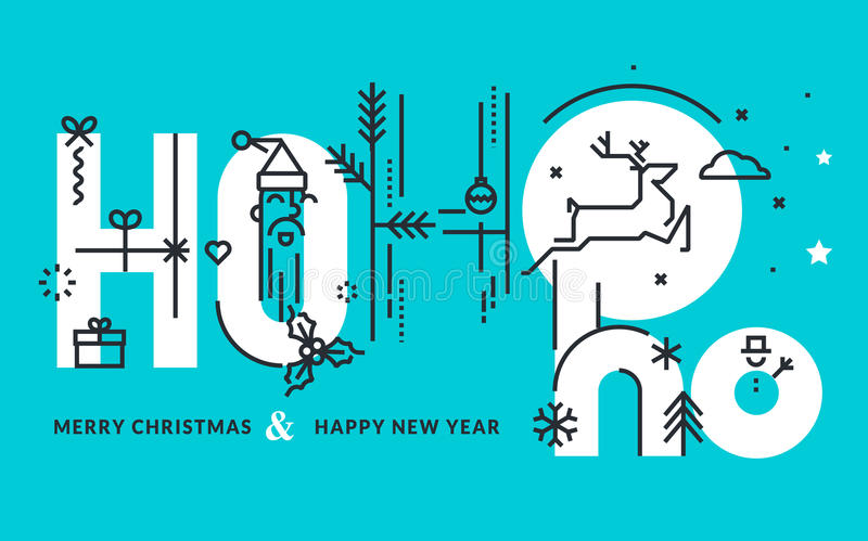 Flat line design Christmas and New Year's vector illustration. For greeting card and banner stock illustration