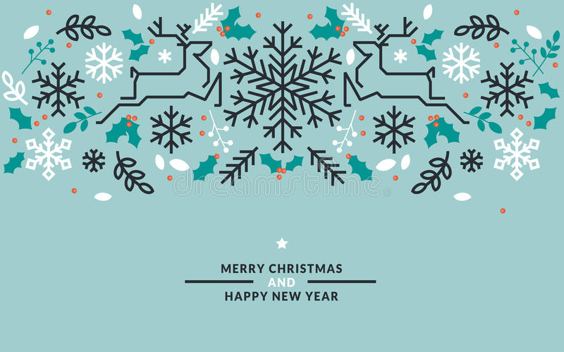 Flat line design Christmas and New Year vector illustrations. For greeting cards, banners, marketing material, background, wrapping paper stock illustration
