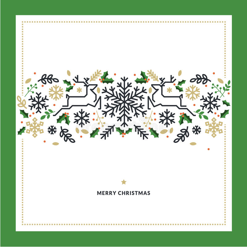 Flat line design Christmas vector illustration for greeting card. Banner, marketing material, background, wrapping paper, texture stock illustration