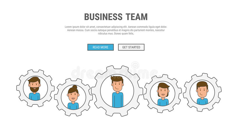 Flat line design concept for business People teamwork, used for web banners, hero images, printed materials. Vector Illustration royalty free illustration