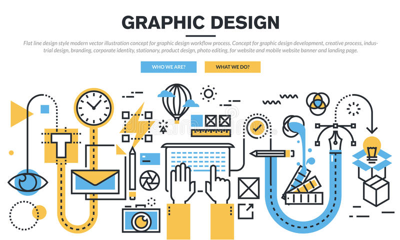 Flat line design concept for graphic design workflow process stock illustration
