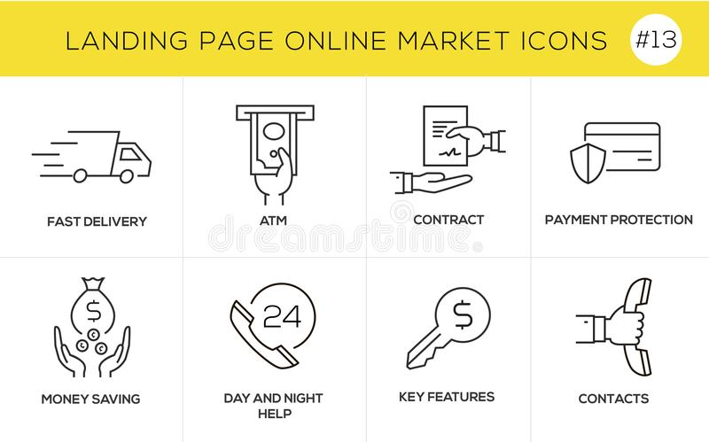 Flat line design concept icons for online shopping, website banner and landing page royalty free illustration