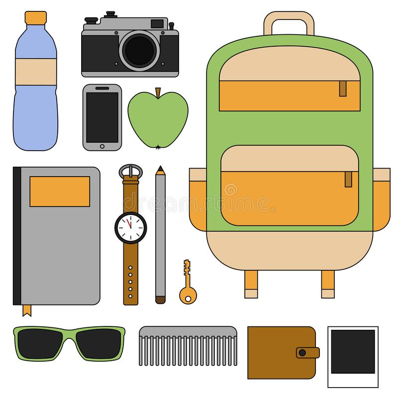 Flat line design concept vector illustration of every day carry and outfit accessories, things, tools, devices. Essentials, objects stock illustration