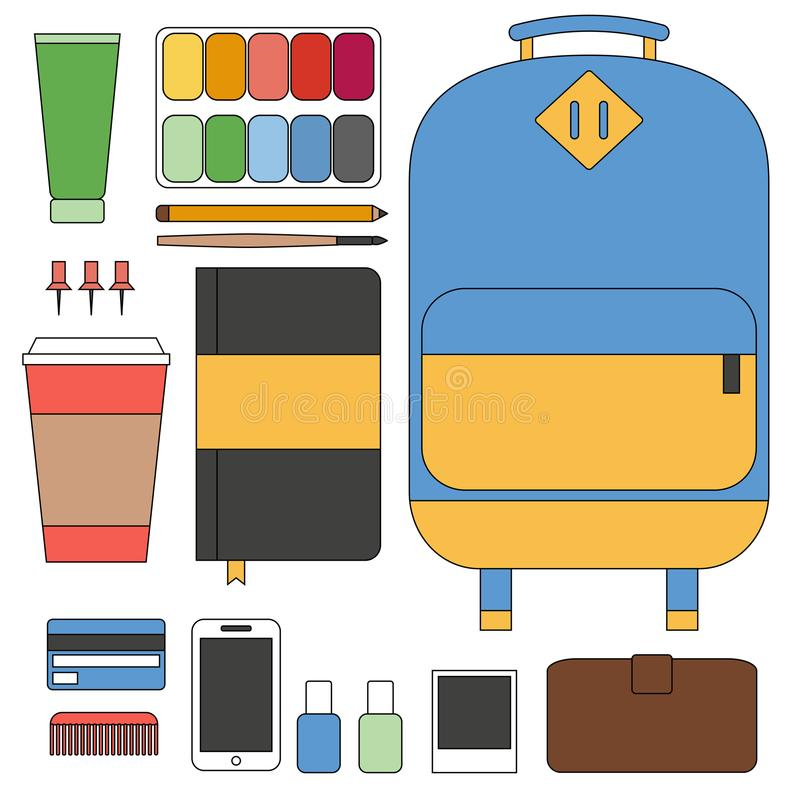 Flat line design concept vector illustration of every day carry and outfit accessories, things, tools, devices. Essentials, objects vector illustration