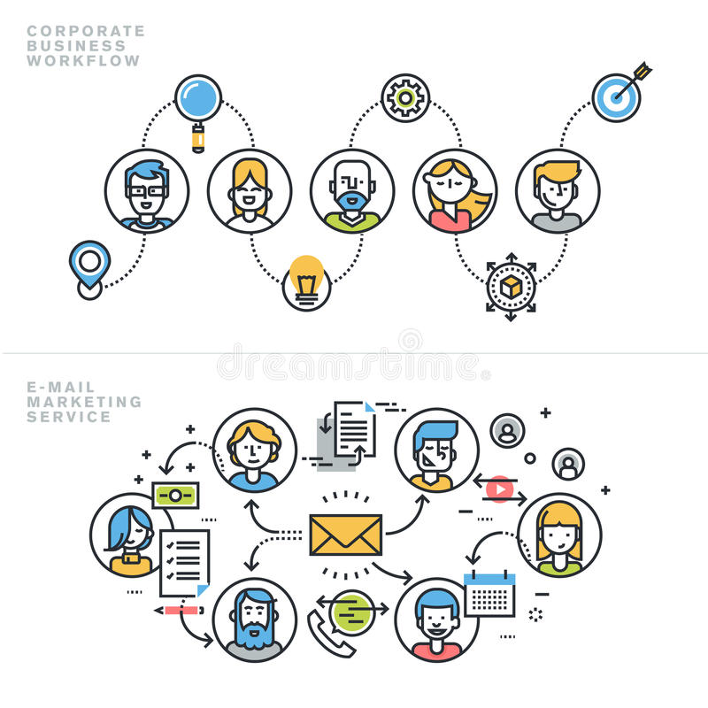Flat line design concepts for corporate business and marketing. Flat line design concepts for corporate business workflow, company profile, teamwork, email royalty free illustration