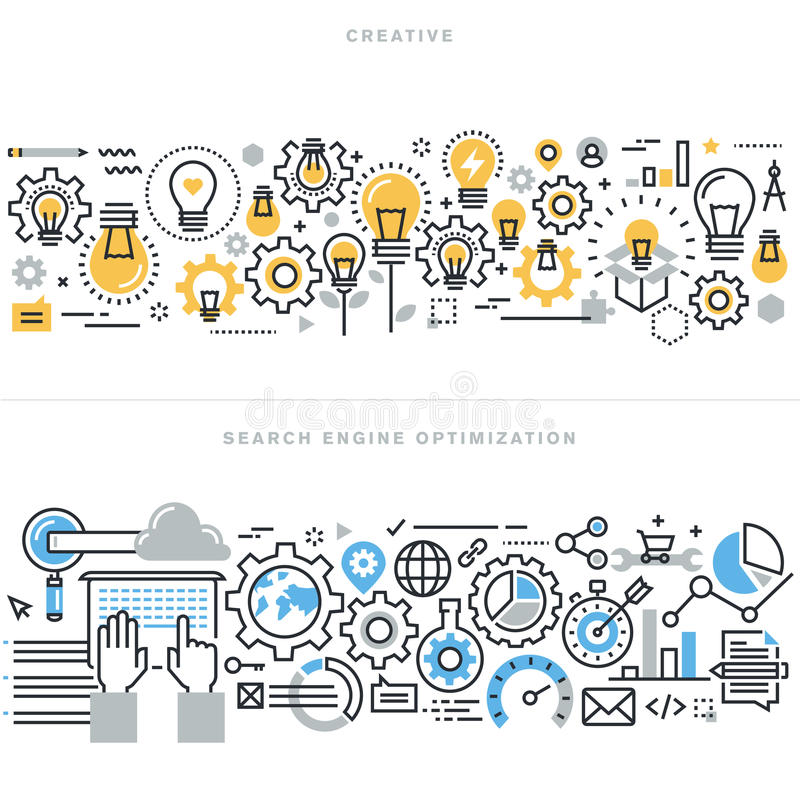 Flat line design concepts for creative process workflow and SEO stock illustration