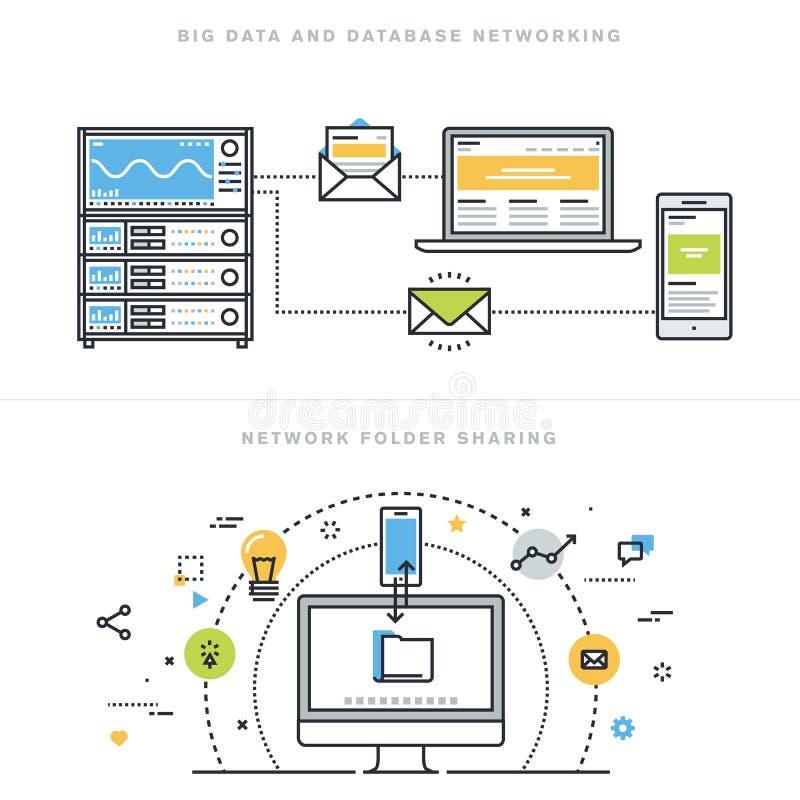 Flat line design concepts for database networking and network folder sharing. Flat line design vector illustration concepts for big data and data base networking stock illustration