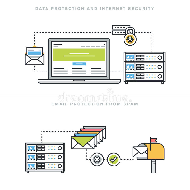 Flat line design concepts for internet security and email protection. Flat line design vector illustration concepts for data protection and internet security stock illustration