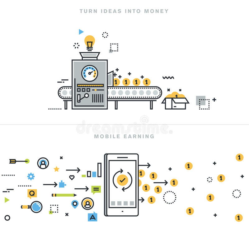Flat line design concepts for online earning and business ideas realization stock illustration