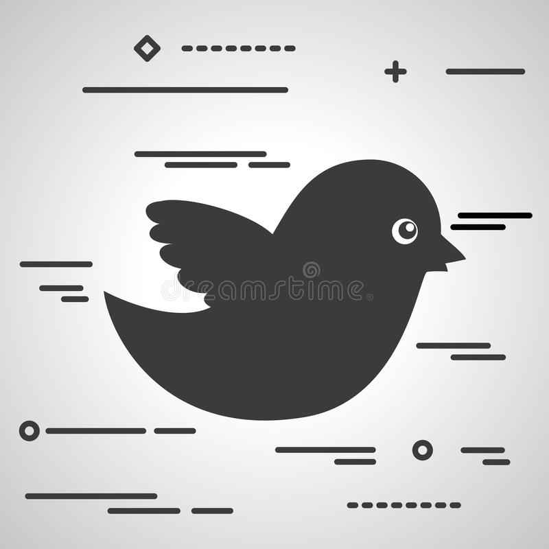 Flat Line design graphic image concept of black bird icon on a g royalty free illustration